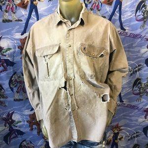 Vintage Thrashed Trashed Browning Work Snap Shirt